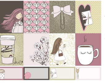 Cute Coffe and Planner Girl Planner Sticker Set