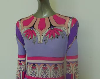 70s Domitilla silk dress with vibrant colors and abstract print