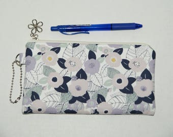 """Padded Zipper Pouch / Pencil Case / Cosmetic Bag Made with Cotton Fabric """"Cameilia"""""""