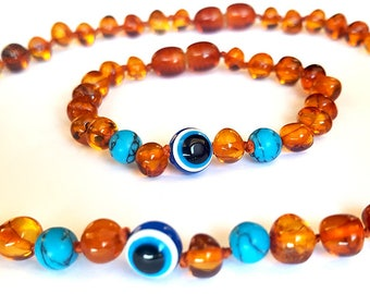 Baltic Amber Baby Teething Necklace  and anklet with Turkish eye bead and turqoise