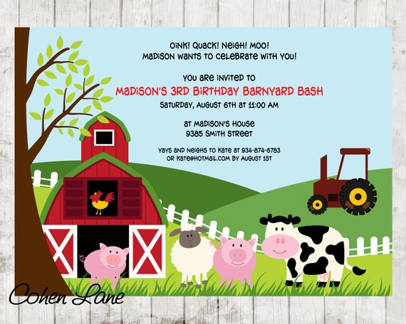 Farm birthday invite barnyard birthday invitation farm il570xn stopboris Choice Image