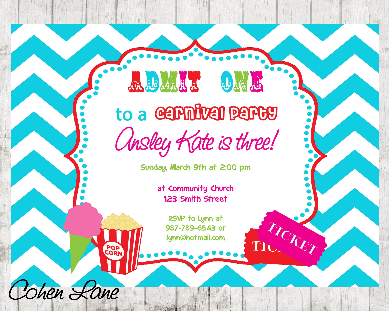 zoom - Carnival Birthday Party Invitations