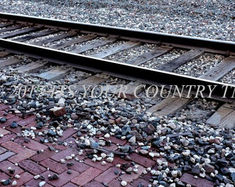 Train Tracks Photography, Railroad Station Passenger Platform Closeup Digital Photo File Download, Instant Printable Image itsyourcountry