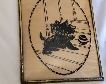 Black Silhouette Scottie Dog Reverse Painting Concave Glass 1950's Chasing Ball
