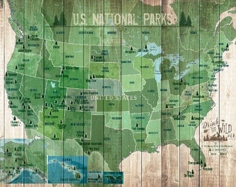 National Park Map Etsy - Us map of national parks and monuments