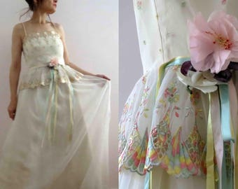 Vintage 60s Maxi Prom Dress White Pastel Trim Ribbon size 10 Saks Fifth Avenue SFAntastic