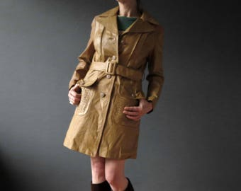 60s Mustard Tan Mod Hipster Genuine Leather Jacket Coat Small