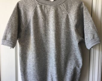 Vintage JC Penney Short Sleeve Raglan Sweatshirt Large Gray Grey Gym Athletic Athleisure