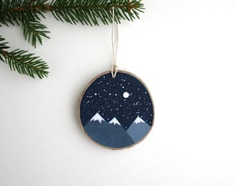 Mountains at Night Ornament - Hand Painted Christmas Ornament - Woodland Ornament