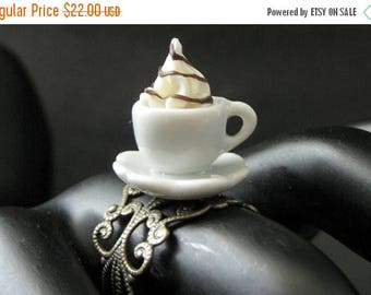 BACK to SCHOOL SALE Ice Cream Ring with Chocolate Syrup Topping. Dessert Ring. White Teacup Ring. Bronze Filigree Adjustable Ring. Handmade