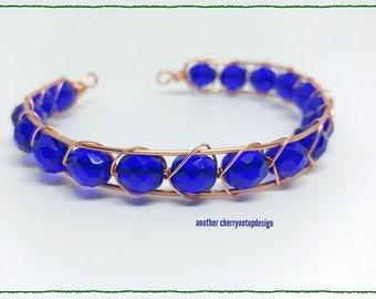 Beaded bangle bracelet made to order personalized mans bracelet custom bracelet unisex bracelet copper blue cobalt bridesmaid jewelry weddin