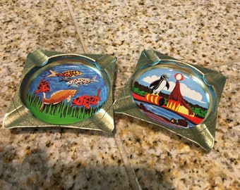 metal ashtray souvenir fish and circus animals