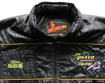 Vintage Joe Amato Team Valvoline Racing Windbreaker Jacket Size Medium 1980s