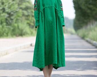 autumn Waist drawstring dress Cotton and linen long large size dress