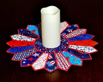 Patriotic Dresden Plate Table Topper or Candle Mat in Bright Red, White and Blue