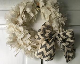 "15"" Burlap Rag Wreath with chevron burlap bow"