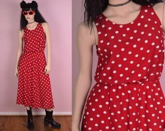 80s Red and White Polka Dot Dress/ US 9-10/ 1980s/ Tank/ Sleeveless