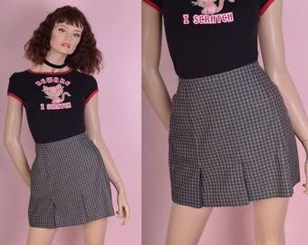 90s Plaid Skirt/ US 7-8/ 1990s
