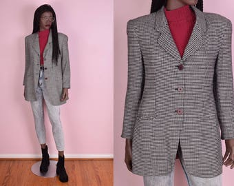 90s Black and White Houndstooth Jacket/ US 6/ 1990s/ Blazer