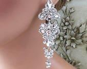 Bridal jewelry, Bridal earrings, Wedding jewelry, Cubic zircon crystal earrings, Maid of honor earrings,Vintage inspired earrings jewelry