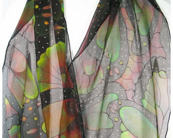"SALE. Painted silk scarf. 15x58"" silk chiffon. Butterfly Silk Scarf. Monarch Butterfly scarf. Painted silk scarves. Handpainted silk scarves"