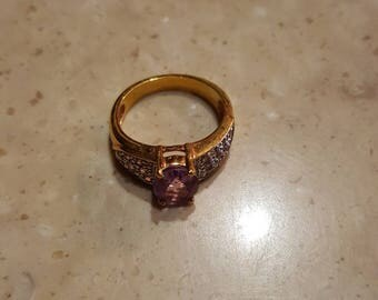 Woman's size 7 amethyst and crystal ring