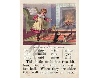 Instant Download Printable Art, Victorian, ABCs, McLoughlin Bros, Little Girl, Child, Children's Book Print, Wall Art Decor, Digital