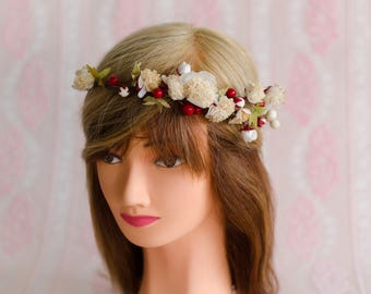 Cherry Blossom Hair Wreath made with Vintage Flowers - Crown / Halo for Bride / Engagement Photos / Fairy Festival OOAK