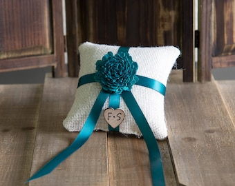 Teal Sola Flower Ring Bearer Pillow, You pick flower and ribbon color