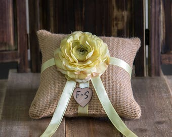 Tan Ring Bearer Burlap Pillow with the flower and ribbon of your choice