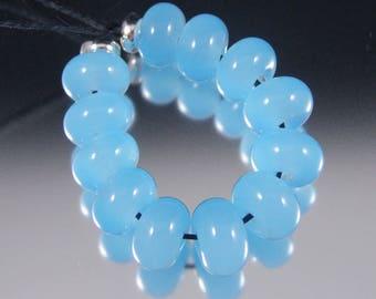 Poseidon - Handmade Lampwork Glass Spacer Set - baby blue translucent