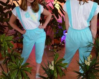 1980s Tropical Ease Aqua Cotton Jumpsuit Faux Suspenders Medium