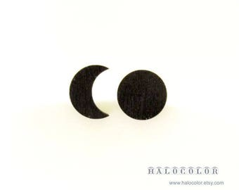 Dyeing Series - 10 pcs  Variety of Colors Moon And Half Mood Wood Charm / Earring Supplies / Wood Cabochons WES13