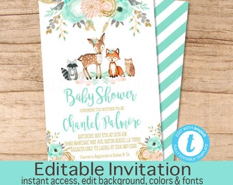 Woodland Baby Shower, Floral Woodland Animals Invitation, Editable Baby Shower template, Peach Mint Gold Invitation, Instant Download