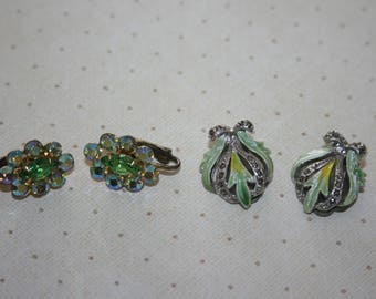 Two 2 Vintage Pairs of Clip On Earrings, Silver Tone, Rhinestone, Gold Tone Green Rhinestones