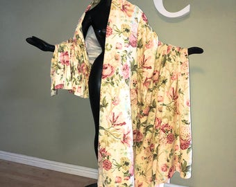 4 Panels Vintage 40s 50s Drapes 1940s 1950s Draperies Drapery Curtains Pale Yellow Floral Cabbage Roses & Poppies Heavy Cotton Pinch Pleat