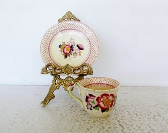 Teacup / Saucer Ironstone Floral Paynsley Pattern Mason's England Small Tea Cup Set