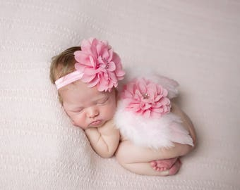 Rose Pink Angel Baby Wings AND/OR Matching Petal Flower Headband, for a teenie infant, photo shoot, baby photo, Lil Miss Sweet Pea