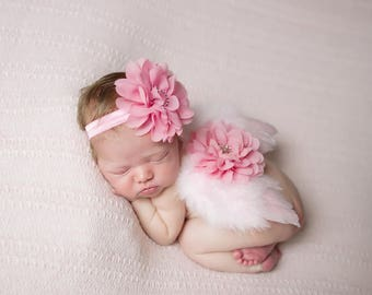Light Pink Angel Baby Wings and/or Matching Petal Flower Headband, baby girl, photo shoot, bebe foto, baby photo, by Lil Miss Sweet Pea