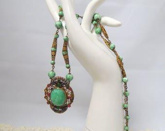 Vintage Filigree Necklace Green Marbled Glass Stones Hand Set Rhinestones