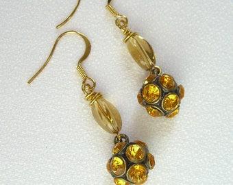 Vintage Rhinestone Earrings Amber Glass Rondelles French Hooks