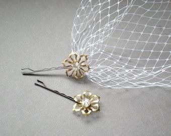 ON SALE Whimsical Bridal Birdcage Veil with Chic Metal Rhinestone Flowers. Bandeau Veil. Hair Jewelry. Blusher Bridal Veil. Bride Maid Hair