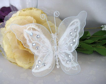 "5"" White Nylon Butterflies 2 layered for Wedding, Flower Arrangement, Hair Accessories, Bridal Shower, Sweet 16, Quninceaner, 1 or 3 pieces"