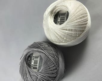 FULL SPOOLS - Lizbeth Tatting Thread - Natural/Silver Neutral TWO Pack (Colors 605 and 602) - Size 20
