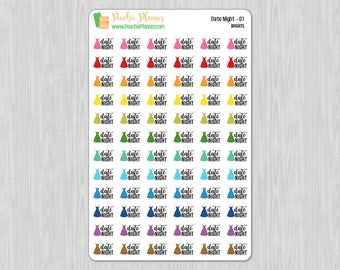 Date Night, Rainbow Brights - 72 Functional Planner Stickers    01
