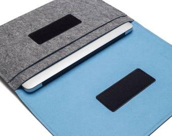"""MacBook AIR sleeve, 13"""" MacBook Air Case, 11"""" MacBook Air Bag, MacBook Air Organizer - Gray & Sky Blue - Weird.Old.Snail"""