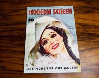 Vintage 1930s Modern Screen Magazine, Art Deco Decor Home Decoration, Coffee Table Style Interior Design Ideas, Dolores Del Rio