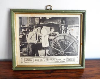 Vintage Fox Film Memorabilia Western Movie Advertisement Tom Mix The Coming of the Law, Unique Log Cabin Wall Decor, Man Cave Hanging
