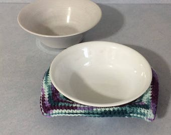 Soup Bowl Cozy, Bowl Cozy, Crochet Bowl Cozy, Bowl Cover, Bowl Cozy for Microwave, Ice Cream Bowl Cozy, Green and Purple