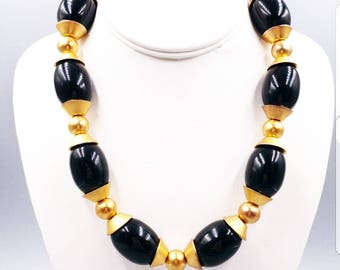 Vintage Signed Givenchy Black Bead and Gold Tone Boho Chunky Necklace Tribal Style